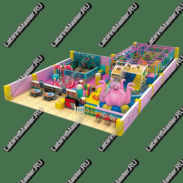 Коммерческая игровая комната с каруселью-осьминогом и лабиринтом | ЛабиринтМастер